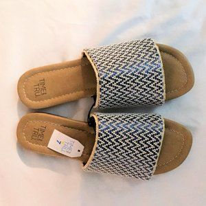 TIME AND TRU SLIDE SANDALS BLUE TAN NWT 7